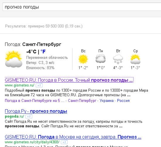 выдача по запросу прогноз погоды в Google